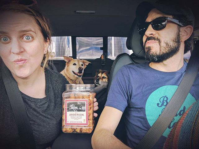 Behind the scenes of a rockin' #roadtrip. in tow, pb pretzels, and #dogswhotravel. (This totally looks like product placement but you srsly gotta try those pretzels; best road trip snack ever.)